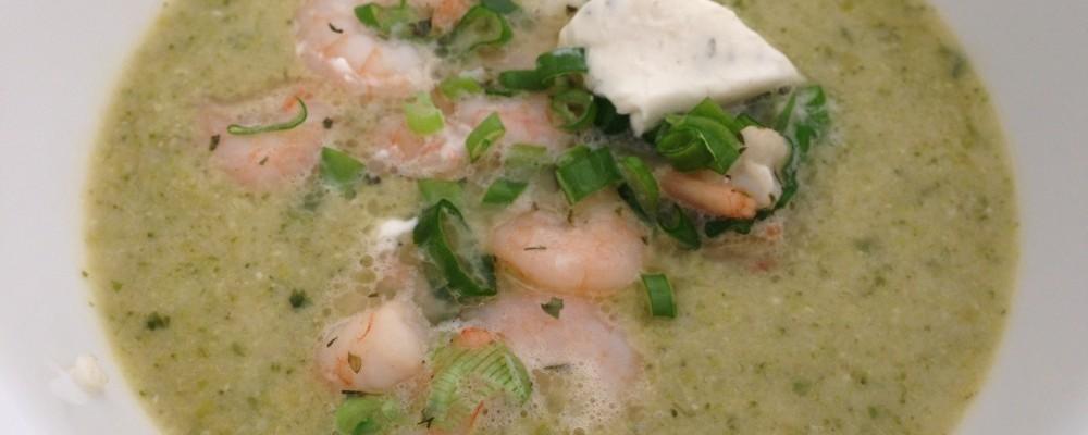 Broccoli soep met garnalen